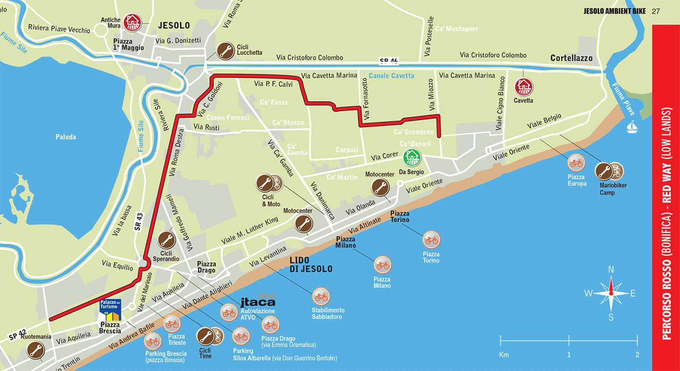 Cartina Jesolo Piazze.Percorsi In Bici A Jesolo Camping Parco Capraro